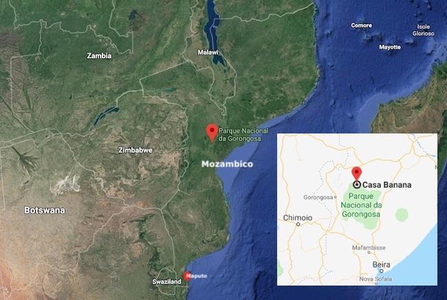 Mappa del Mozambico e il Parco nazionale di Gorongosa con Casa Banana (Courtesy Google Maps)
