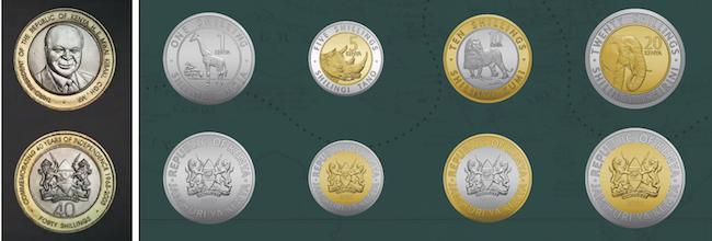 A sinistra le monete con l'effigie Mwai Kibak, terzo presidente del Kenya, e le nuove monete che raffigurano gli animali della savana