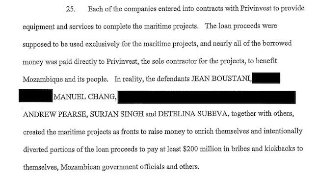 La parte del documento dell'accusa contro Manuel Chang e gli altri imputati che riguarda i 200mln di dollari in tangenti per sè e per altri