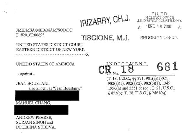 L'accusa della magistratura USA contro Chang e gli altri imputati