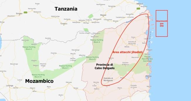 Mappa di Cabo Delgado (Nord del Mozambico) con l'area degli attacchi jihadisti e il giacimento di gas naturale dove operano ENI e ExxonMobil