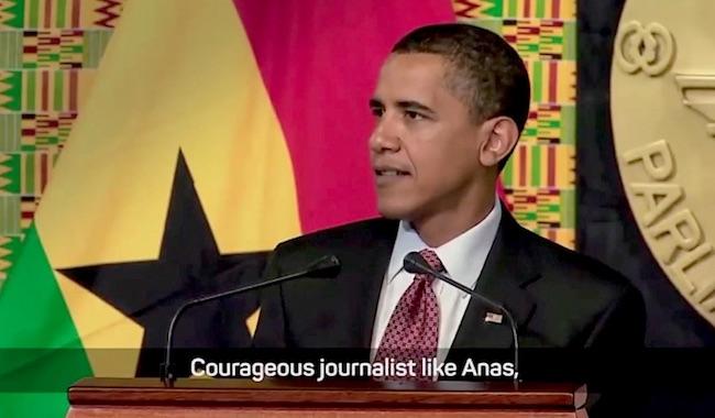 Il presidente USA Barack Obama che cita Anas Aremeyaw Anas durante la visita in Ghana nel 2009 (Courtesy Anas Aremeyaw Anas)