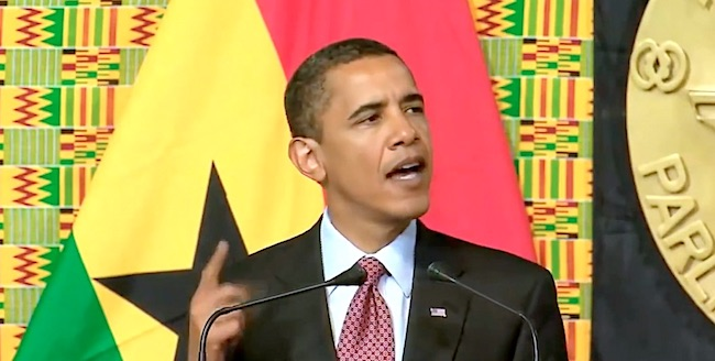 Barack Obama durante il discorso di elogio ad Anas Aremeyaw Anas