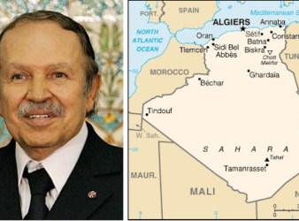 Il presidente dell'Algeria Abdelaziz Bouteflika e la mappa del Paese Nord-africano