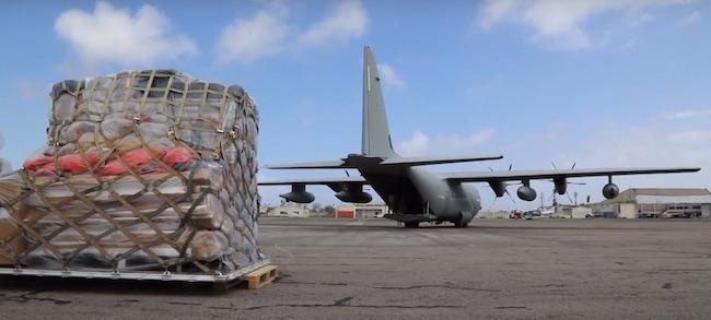 C130 italiano arrivato in Mozambico (Courtesy Dipartimento di Protezione Civile)