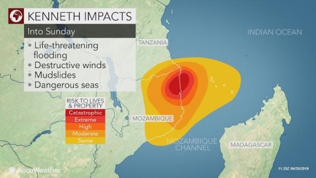 Area di Cabo Delgado colpita dal ciclone Kenneth (Courtesy AccuWeather)
