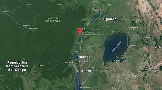 Localizzazione del Virunga National Park in RDC al confine con l'Uganda (Courtesy Google Maps)