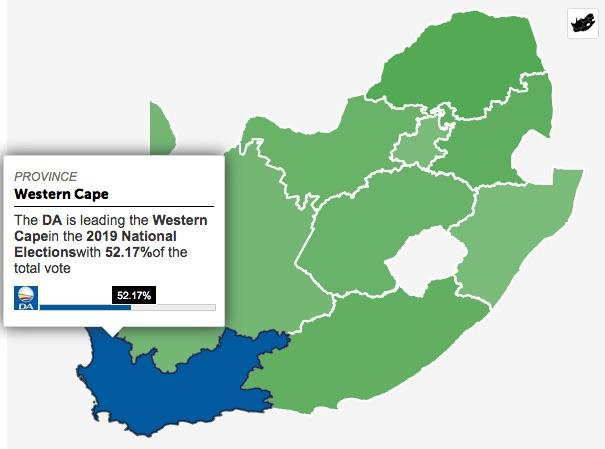Mappa del Sudafrica con la parcentuale dei voti dati al DA nel Western Cape (Courtesy TV24)