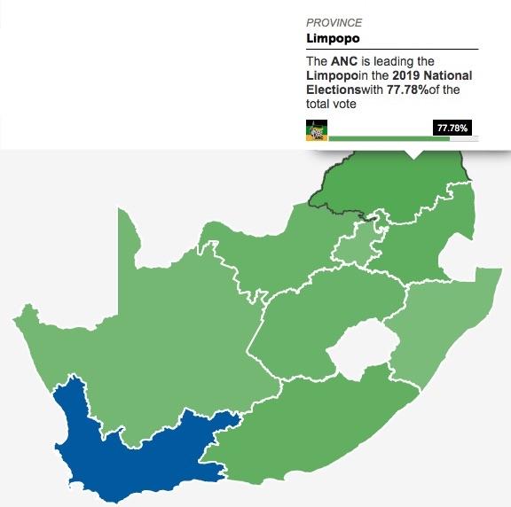 Mappa del Sudafrica con la parcentuale dei voti dati al'ANC nella Provincia del Limpopo (Courtesy News24)