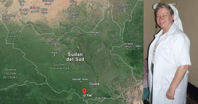 Mappa del Sud Sudan e suor Veronika, morta il 20 maggio 2016