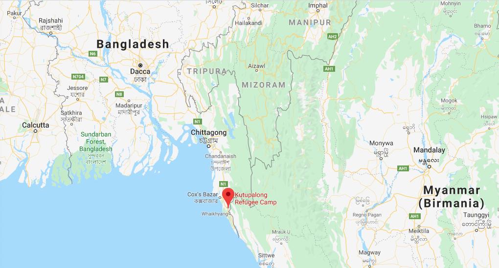 Mappa con la posizione del campo profughi rohingya di Katupalong al confine tra Myanmar e Bangladesh (Courtesy Google Maps)