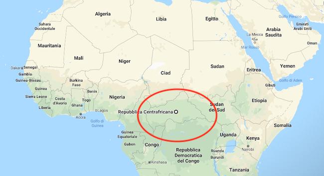 Nella mappa, la posizione della Repubblica Centrafricana