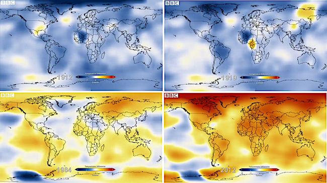 Le temperature del Pianeta nel 1912, 1919, 1984 e 2012 (Courtesy BBC)