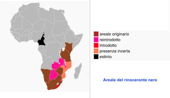 Areale del rinoceronte nero