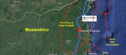 Mappa dell'agguato jihadista nel distretto di Macomia, a Cabo Delgado (Courtesy GoogleMaps)