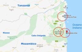 Mappa del Nord del Mozambico con i distretti colpiti dal colera (Courtesy GoogleMaps)