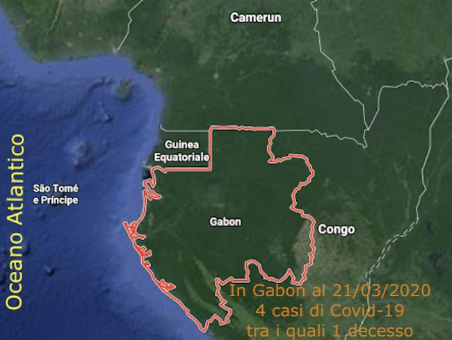 Mappa del Gabon - Covid-19