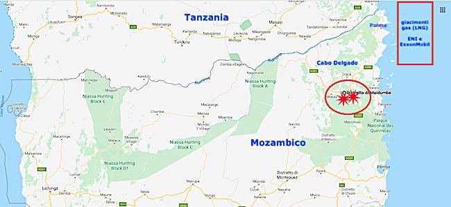 ExxonMobil-Mappa del luogo degli attacchi jihadisti a Cabo Delgado, Mozambico (Courtesy GoogleMaps)