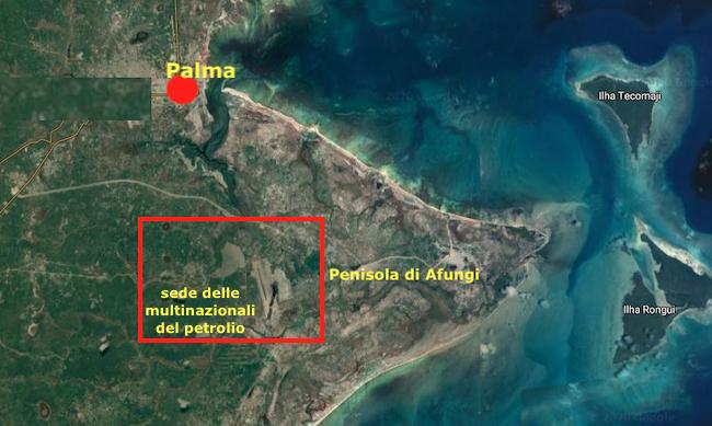 La penisola di Afungi, sede delle multinazionali del petrolio, a sud di Palma (Courtesy: Google Maps)