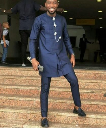 Latest Nigerian Navy Blue Senator | Dashiki Mens Fashion Shirt & Pants – Africa Blooms