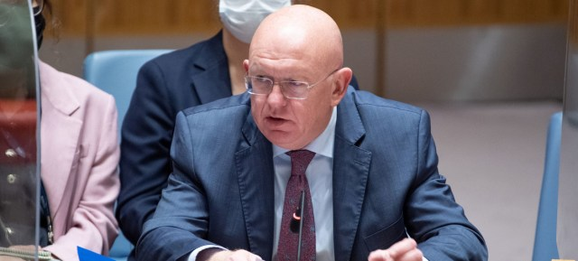 Ambassador Vassily Nebenzia of the Russian Federation addresses the Security Council meeting on the situation in Afghanistan.