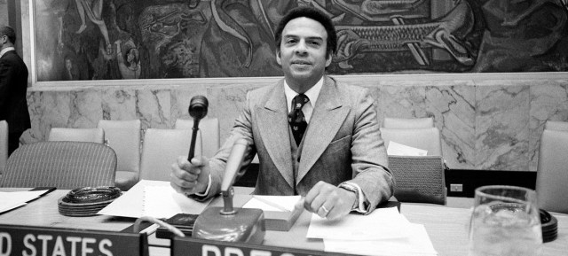 Ambassador Andrew Young of the United States, President of the Security Council, is seen calling a meeting to order on South Africa. (March 1977)