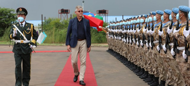 The UN Under-Secretary-General for Peace Operations, Jean-Pierre Lacroix inspects a guard of honour provided by Chinese peacekeepers in Juba, South Sudan.