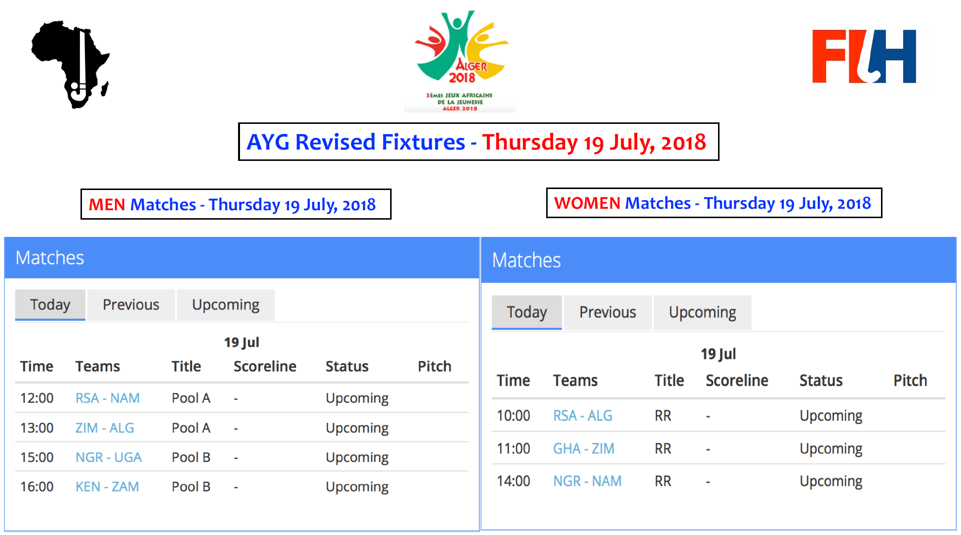 AYG Revised Fixtures - Thursday 19 July, 2018