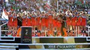 Glorious Dutch celebrate winning gold. Pic credit: Getty Images/FIH