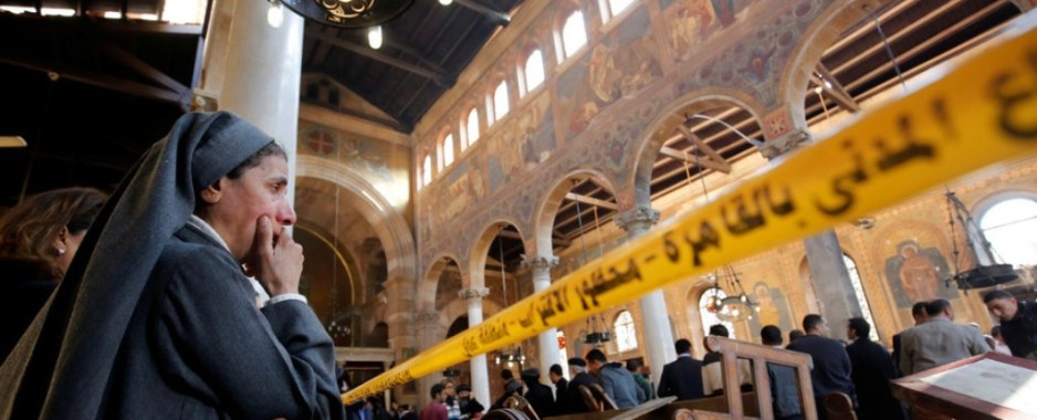 Suicide bomber's belt of explosives blew up before he got to Christian church service in Egypt