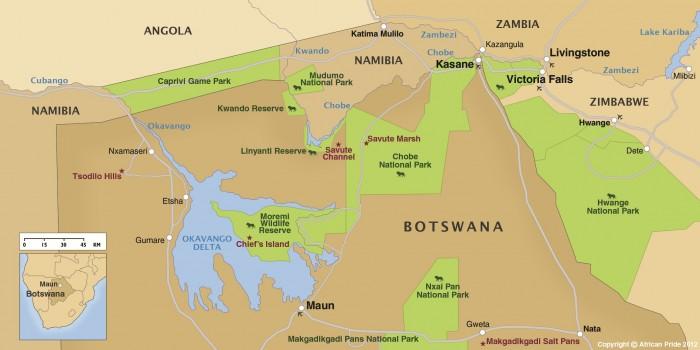 Mapa de Botswana: Chobe y el delta del Okavango