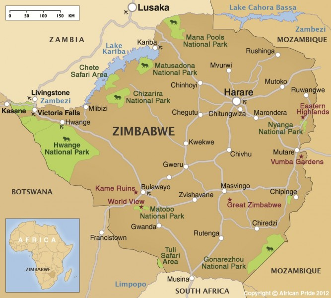 Map of Zimbabwe showing location of Lk Kariba