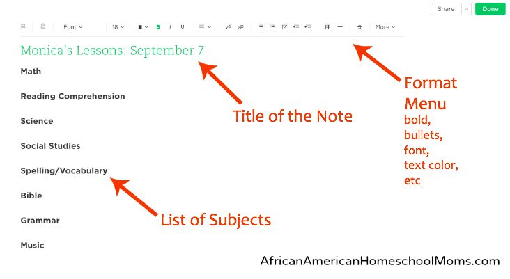 Creating Lesson Plans Using Evernote AfricanAmerican Homeschool - Create a lesson plan template