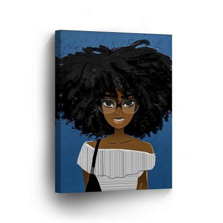 Cute African Girl Afro Hair Glasses Blue
