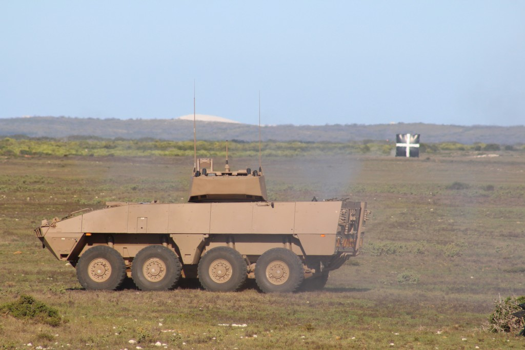Rheinmetall Denel Defence Day - A Badger IFV enters the firing range to engage targets with its Denel-built 30mm cannon. ADR/JOHN STUPART