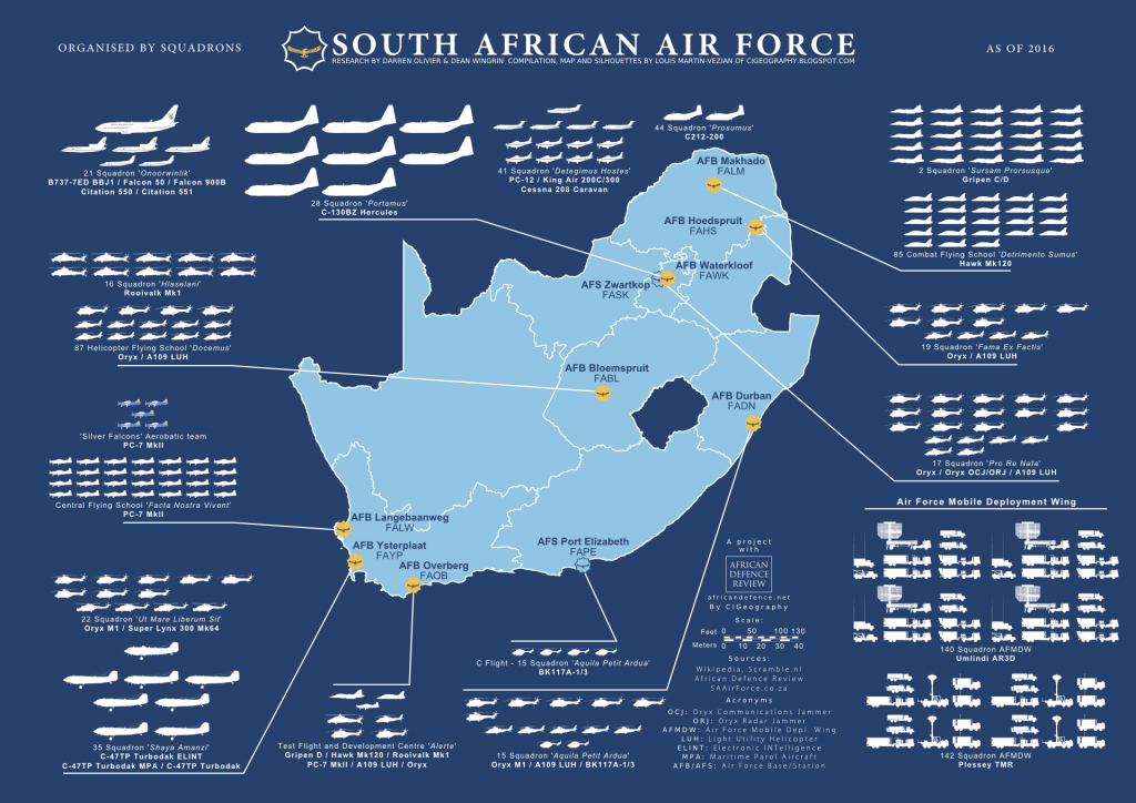 Infographic showing aircraft of the South African Air Force
