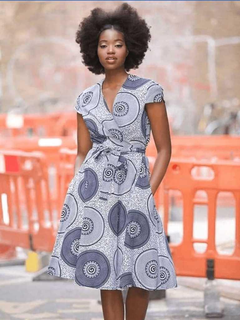 Simple ankara belted dress