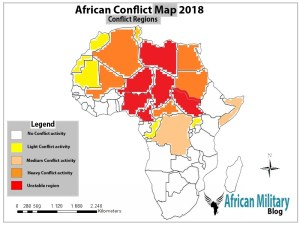 African Conflict Map 2018 showing crises zones