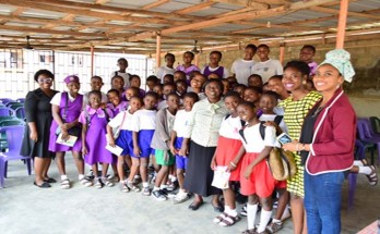 The SGEF team with the schoolgirls of Ikosi High Schools, Lagos