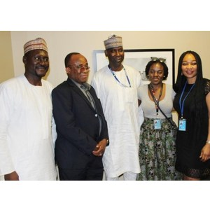 Left to right- Musa, His Excellency Prof. Bande, Ms. Hauwa Umar (United Nations Environmental Protection) and Ms. Kanu