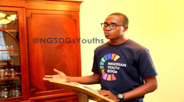 Joshua Alade, Project Coordinator, Nigerian Youth SDGs Network telling the stories behind the Network at the event