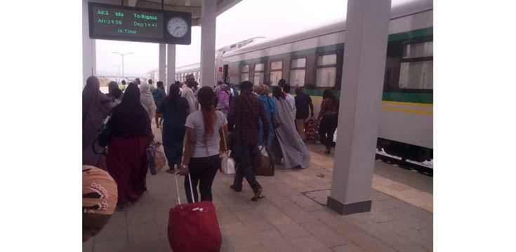 Passengers boarding the Abuja-Kaduna train at Kubwa substation on the outskirts of Abuja, the Nigerian capital