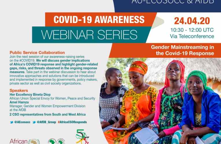 AU ECOSOCC, AfDB push for a gender-sensitive response to COVID-19 in Africa