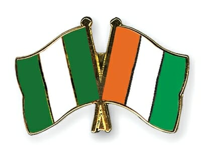 Nigeria Vs. Cote-d-Ivoire Flags