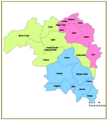 Map of Kaduna showing the three Senatorial Districts