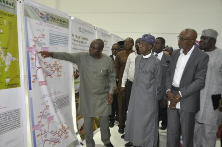Secretary, Transport Secretariat of the Federal Capital Territory Administration, Mr. Kayode Opeifa (left), Minister of Information and Culture, Alhaji Lai Mohammed (middle) and the Chief Resident Engineer for Abuja Rail Project, Mr. Anthony Agbakoba, during a facility tour of the Abuja Light Rail Project by the Minister on Thursday.