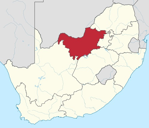 Map Showing North West Province of South Africa