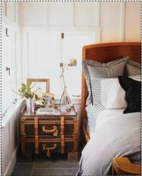 Vintage LV Suitcase Nightstand - Wanderlust Style: Suitcases as Decor - www.AFriendAfar