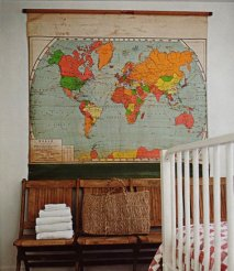 Maps in Home Decor - Vintage Classroom Map - www.AFriendAfar.com