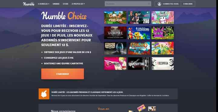 Humble Choice Abonnement Jeux-vidéo